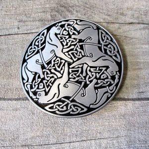 Gürtelschnalle Metallschließe Buckle silber schwarz Metall rund keltisch Pferde
