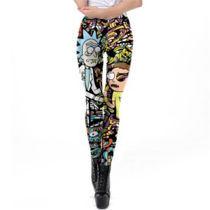 NADANBAO Cartoon Druck Leggings Rick Und Morty