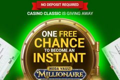 Free no deposit spin on the Mega Vault Slot Machine at Casino Classic