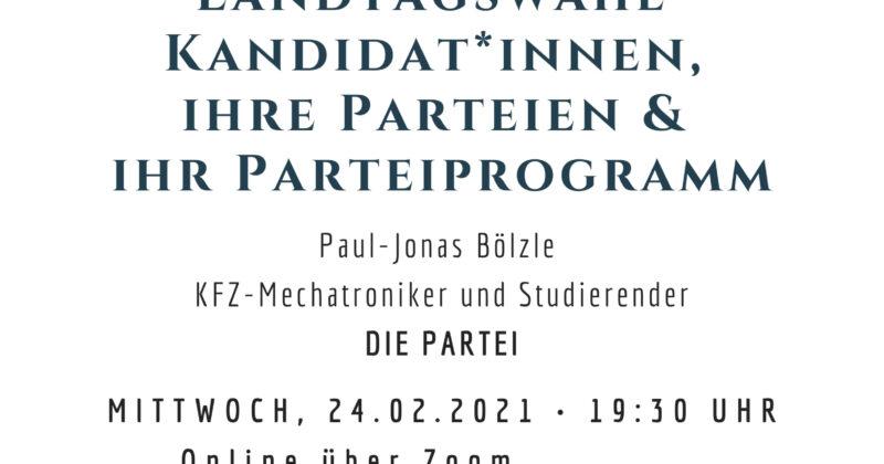 Vorstellung von Landtagswahlkandidat*innen 2021