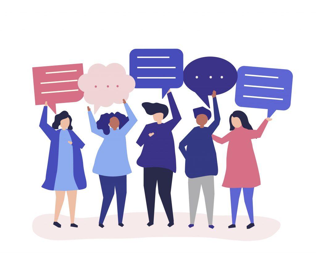 Diskutera, samtala och säga sin åsikt
