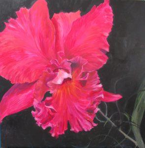 Pink Orkide akryl 80 x 80 Gitte Levin