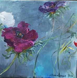 Blomster Violer Akryl 50x50 Gitte Levin