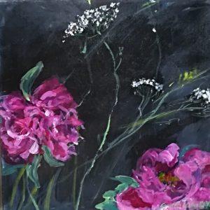 Blomster Lilla Akryl Gitte Levin