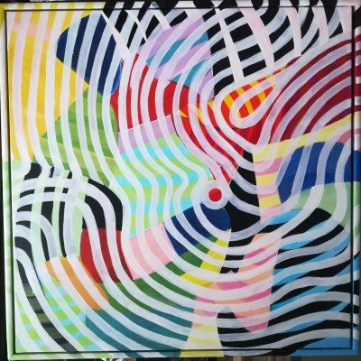 For evigt - akryl på lærred - 90 x 90 cm med ramme