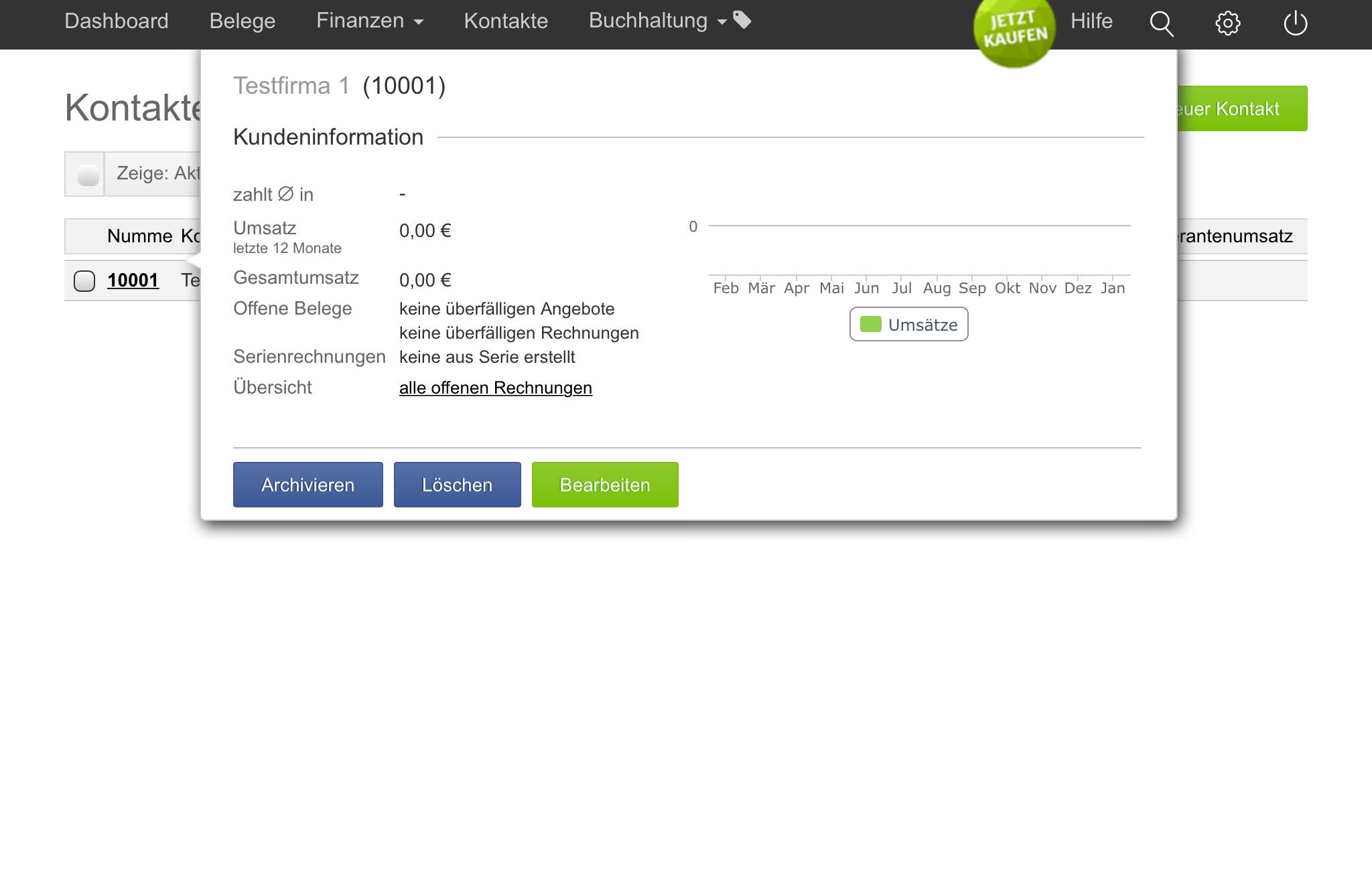 Alle Kundeninfos auf einen Blick - inklusive Angaben zu den Umsätzen. So bequem geht's halt nur mit Software.