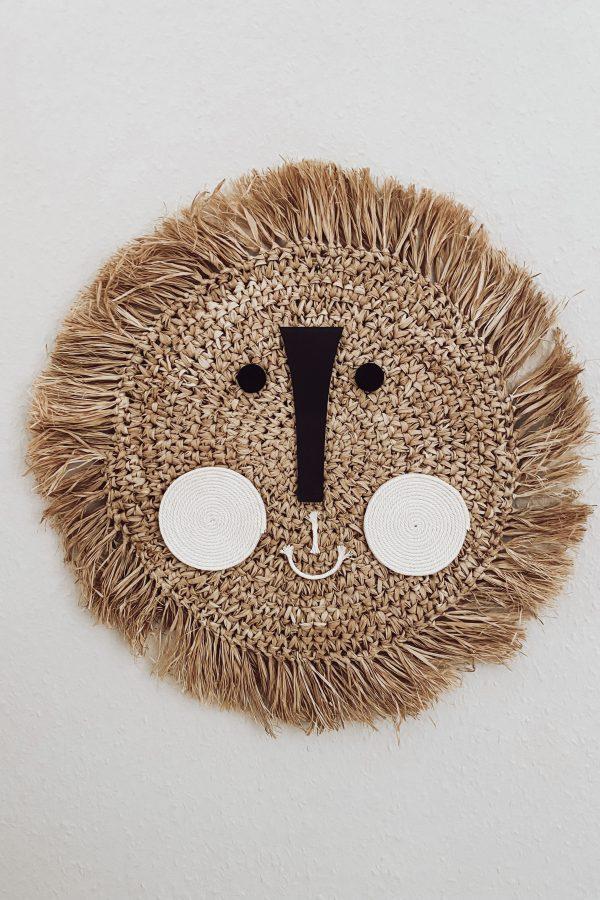 DIY Löwenkopf aus Raffia als Wanddekoration fürs Kinderzimmer oder zum verschenken