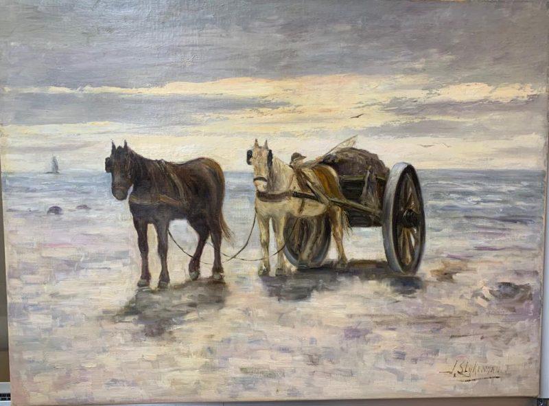 herstel, schilderij, schade, retoucheren, winterlandschap, paarden