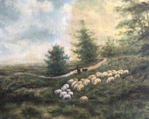 Schaapskudden met herder en hond op de hei