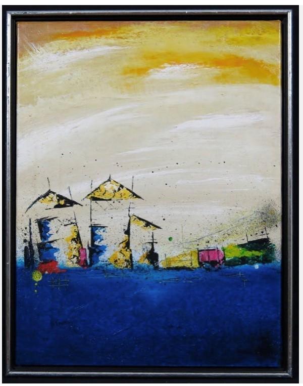 Henk Kuijpers, abstract, olieverf op doek