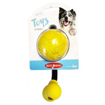 Best Friend Flyball gummiboll med rep Gul