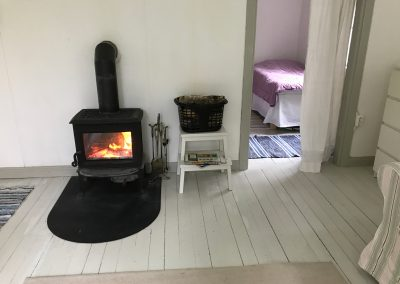 Fire and bedroom