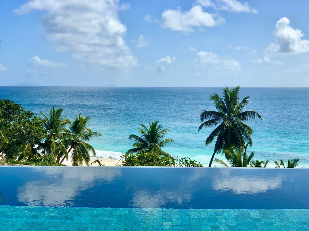 An infinity pool with view over the sea and palm trees on Fregate Island. Photo by Mihaela Limberea.