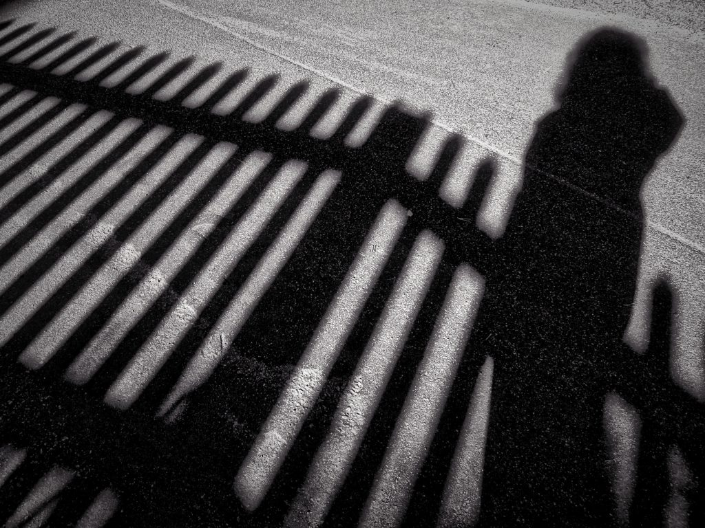 Black and white photo showing a human silhouette against a fence to illustrate the longest shadow of the year during the winter solstice. Photo by Mihaela Limberea.