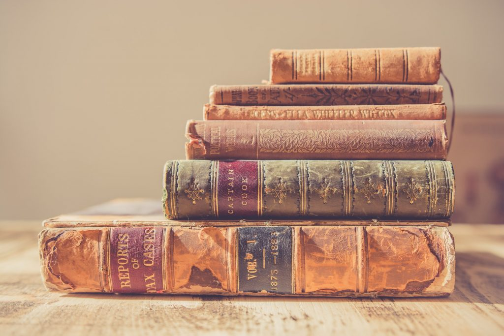 Stack of old books.