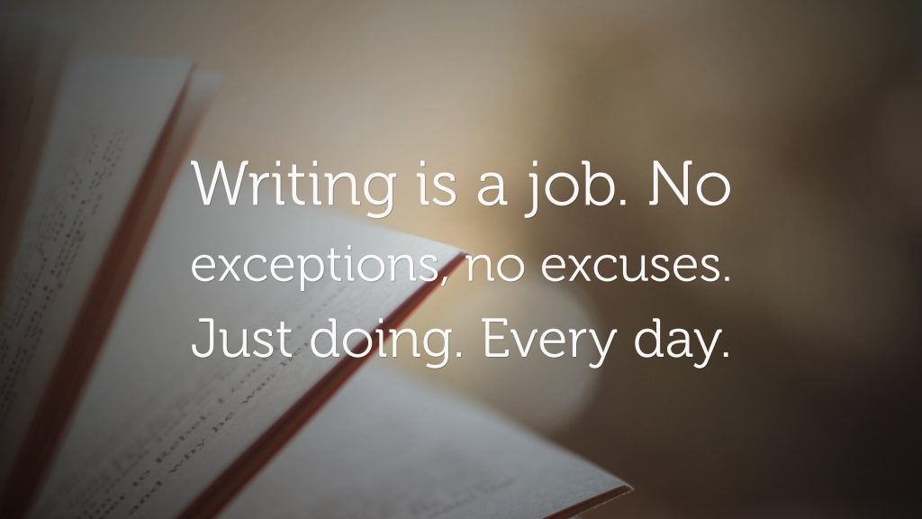 Writing is a job-text on the background of a notebook.