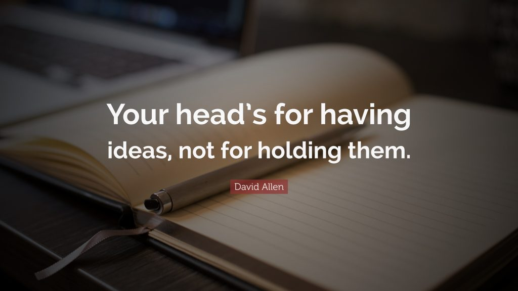 David Allen quote: Your head's for having ideas, not for holding them.