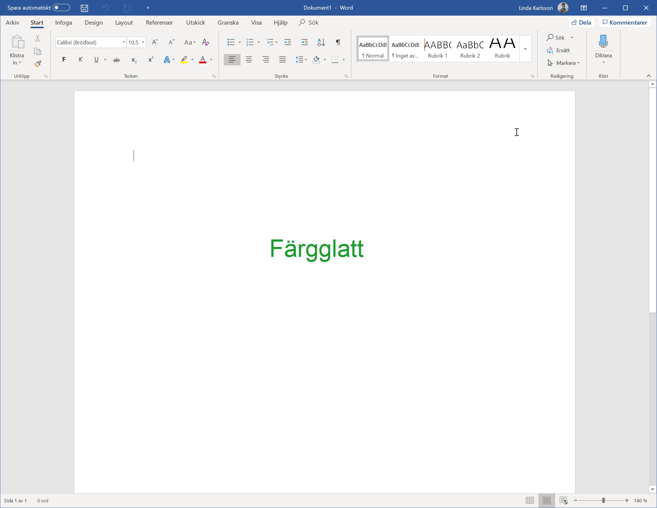Temat Färgglatt i Microsoft Office 2019