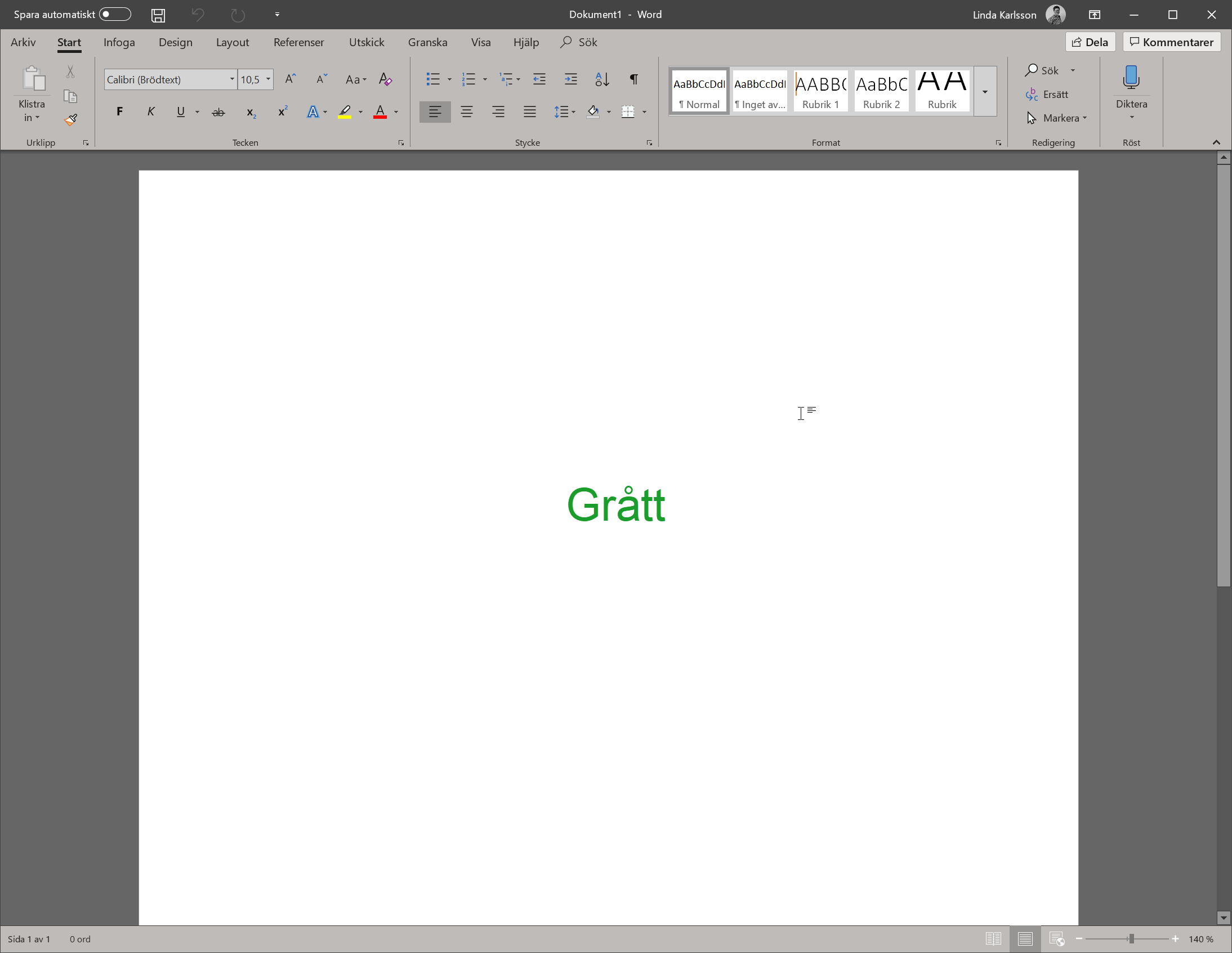 Temat Grått i Microsoft Office 2019