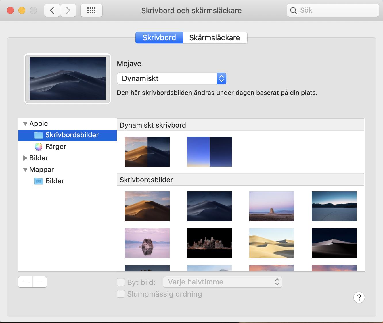 Dynamisk Desktop. Dialogrutan för Skrivbord och skärmsläckare.
