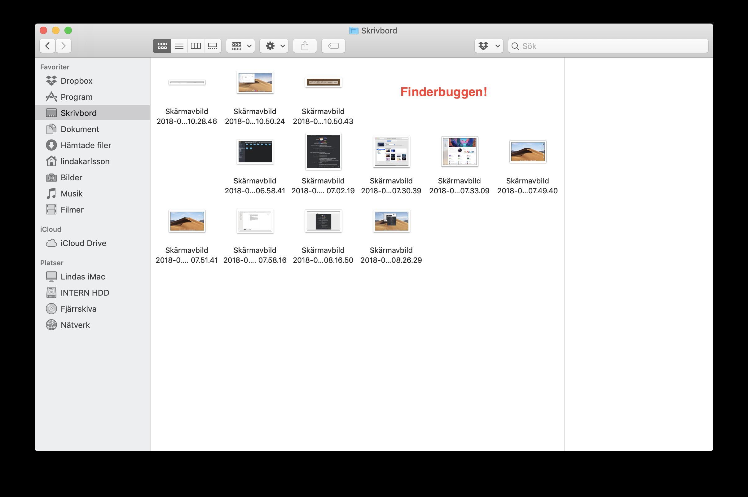 Finderbuggen! Ingen automatisk sortering i Finder.