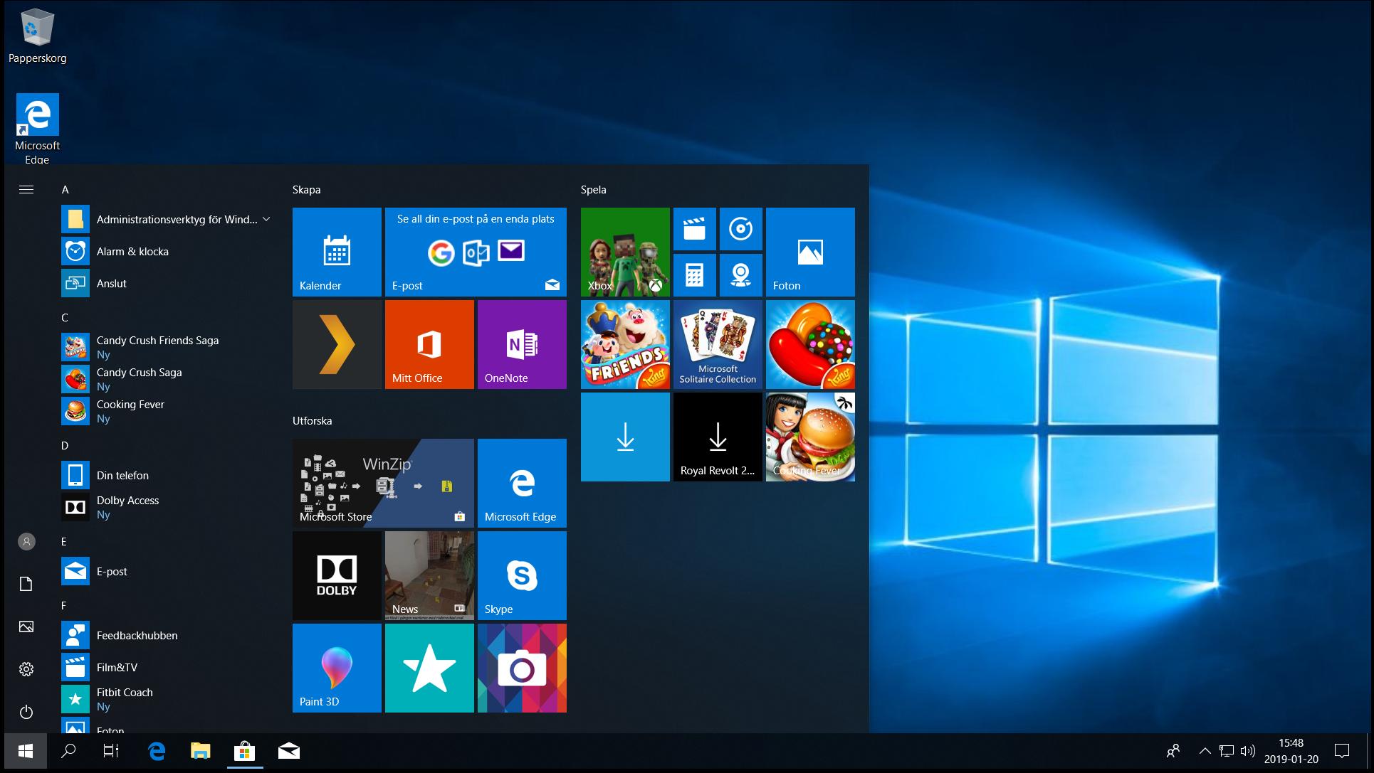 Skrivbordet och start-menyn i Windows 10