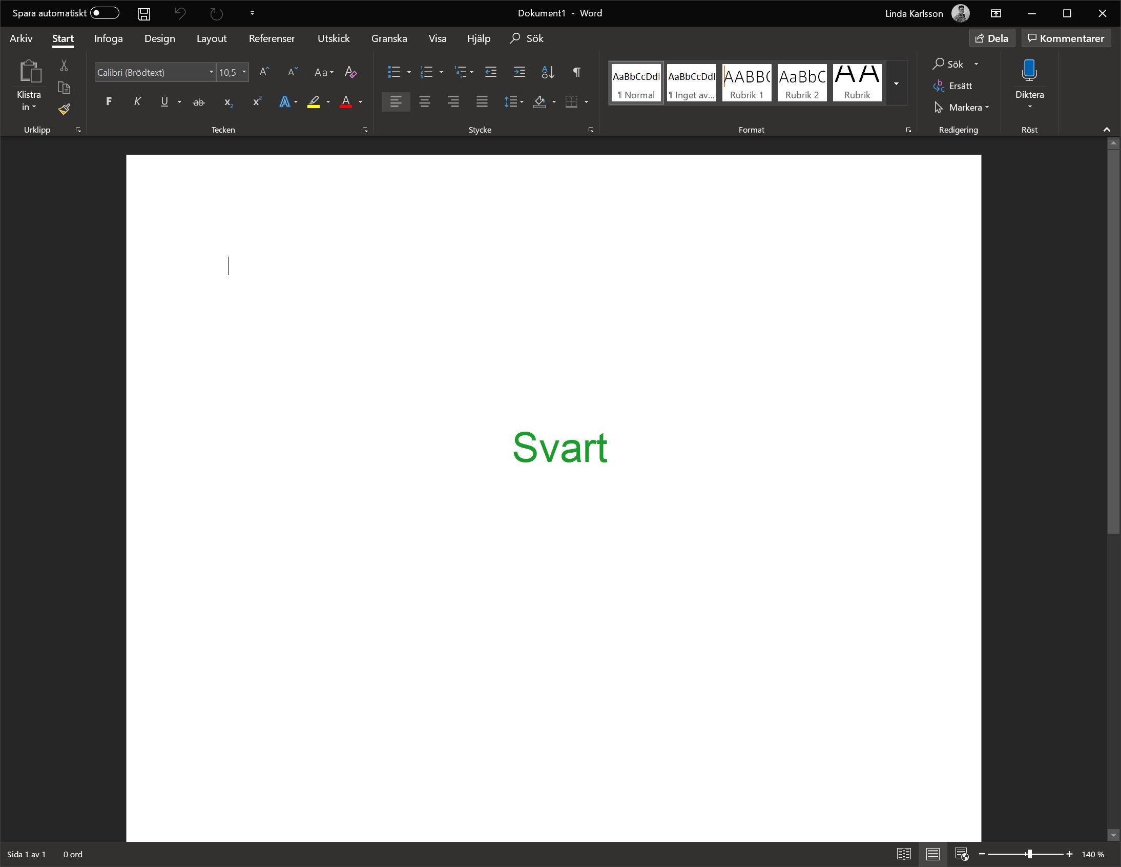 Svart Tema i Microsoft Office 2019.