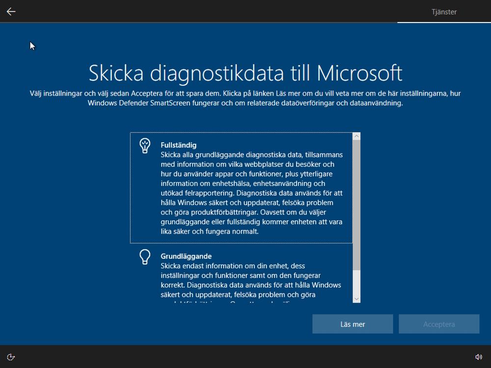 Skicka diagnostikdata till Microsoft