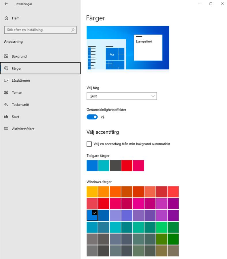Dialogrutan Färger under Inställningar i Windows 10.