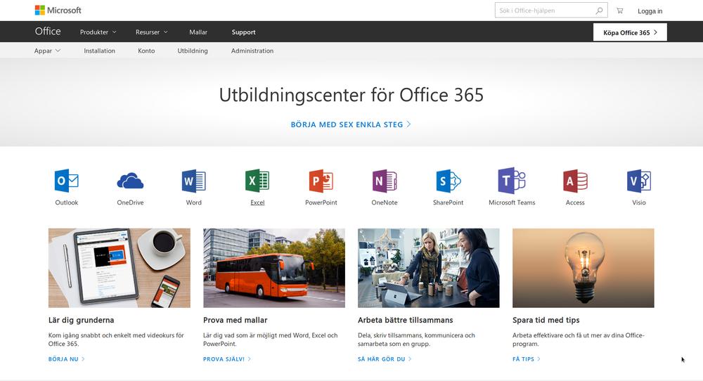Hemsidan för Microsoft Utbildningscenter