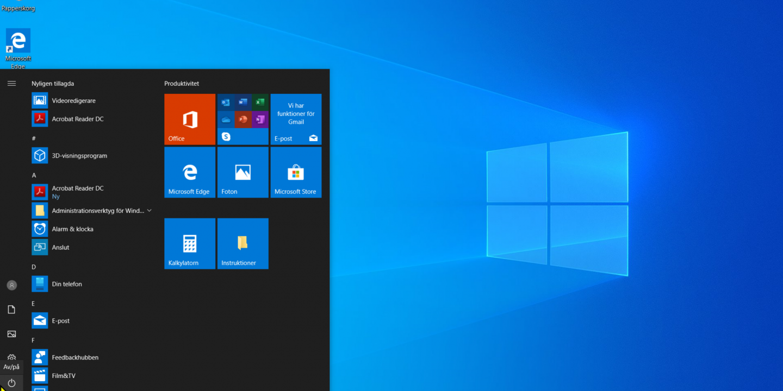Windows 10 Skrivbord med Start-menyn