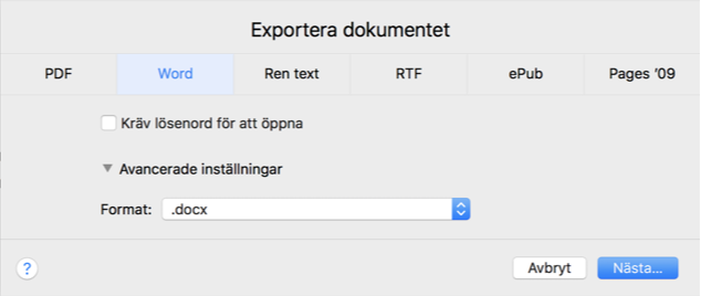 Exportera .pages fil som Word-fil.