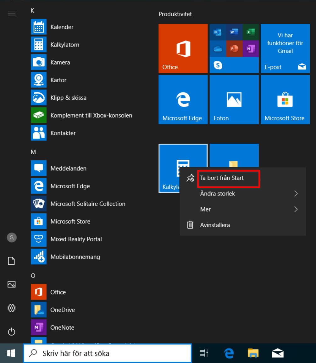 Start-menyn i Windows 10 och kommandot Ta bort från Start.