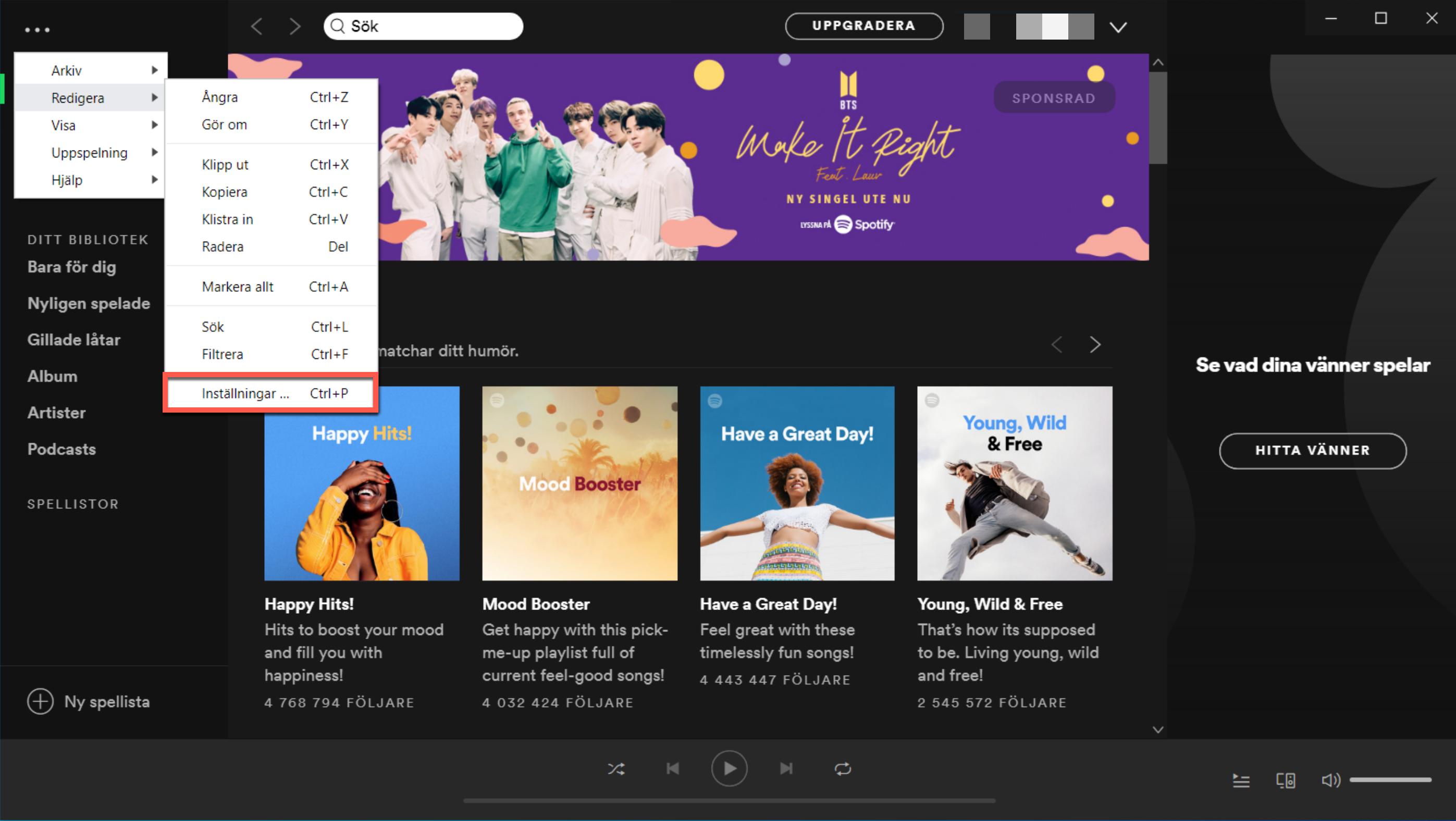 Meny i Spotify för Windows.