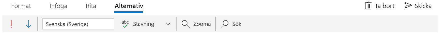 Verktygsfältet Alternativ i appen E-post för Windows 10.