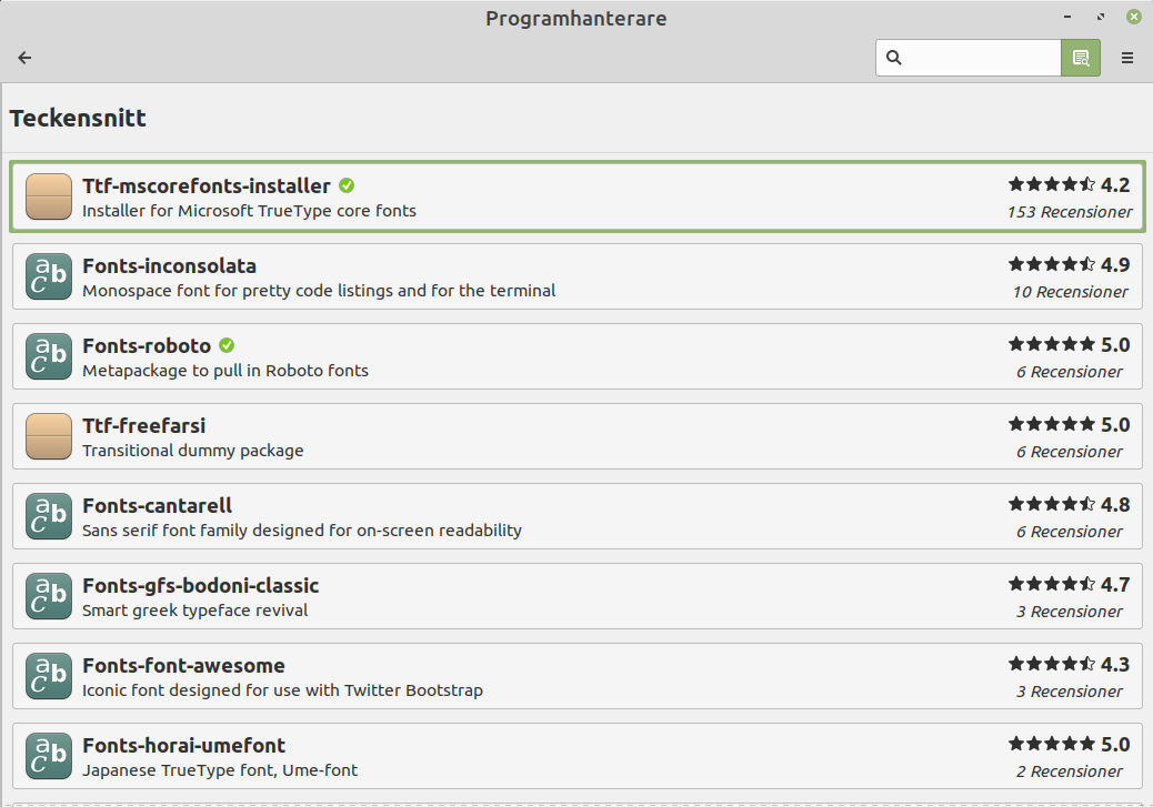 Bild på Programhanterare i Linux Mint