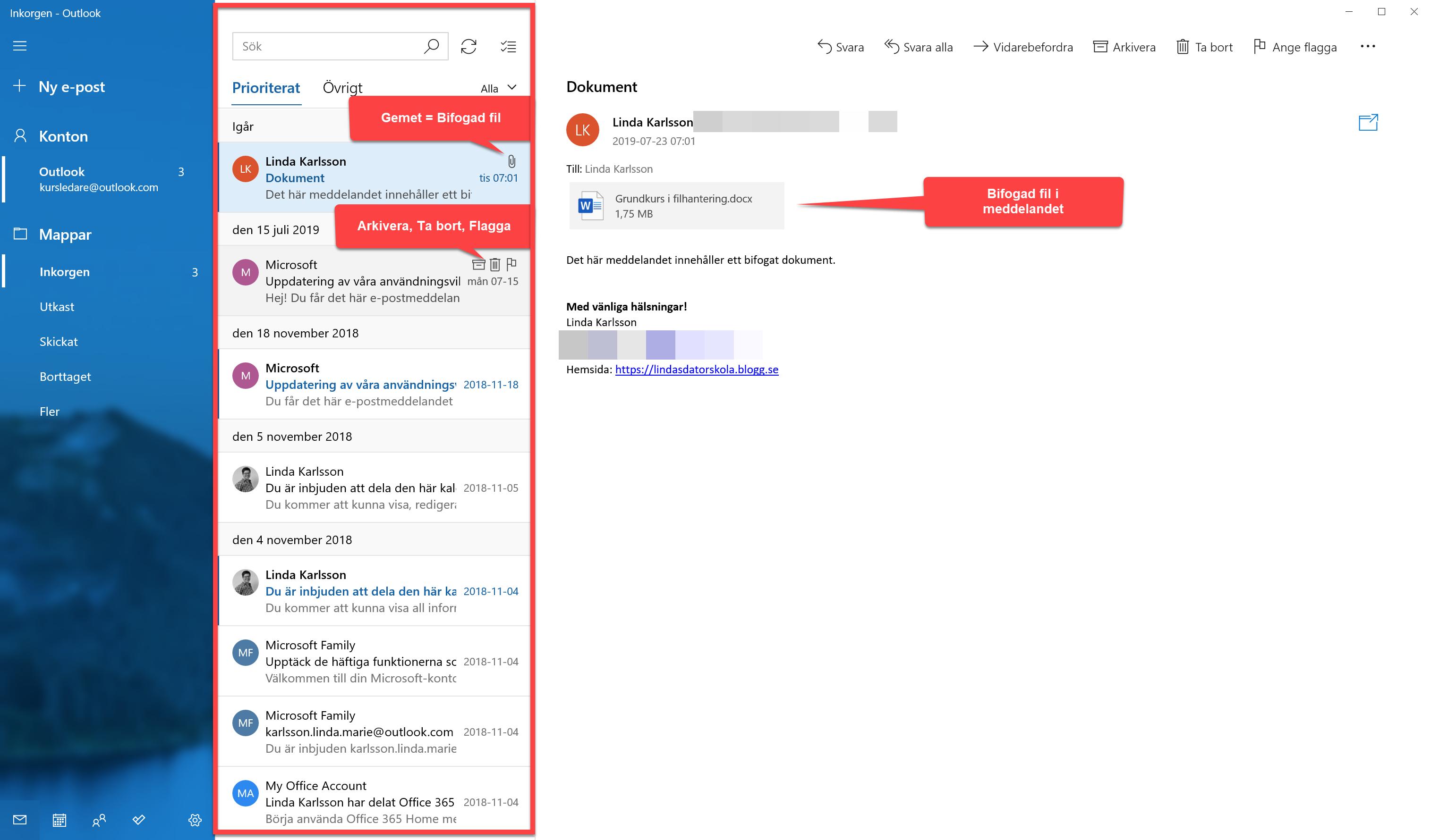 Fönstret E-post och E-postlistan markerad med rött.