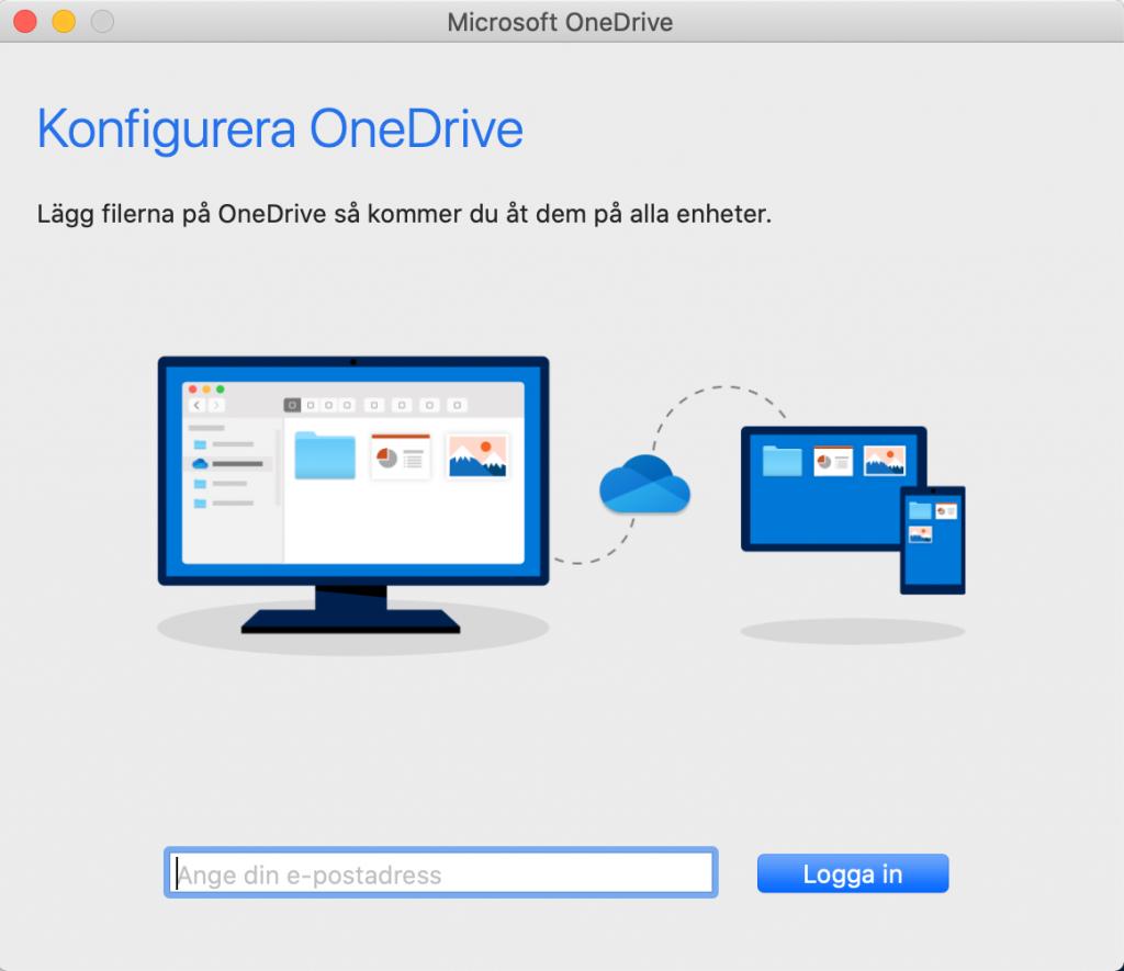 Inloggning på OneDrive Synk för Mac