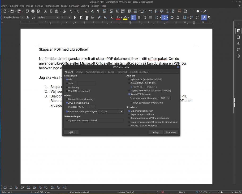 PDF Alternativ i LibreOffice Writer