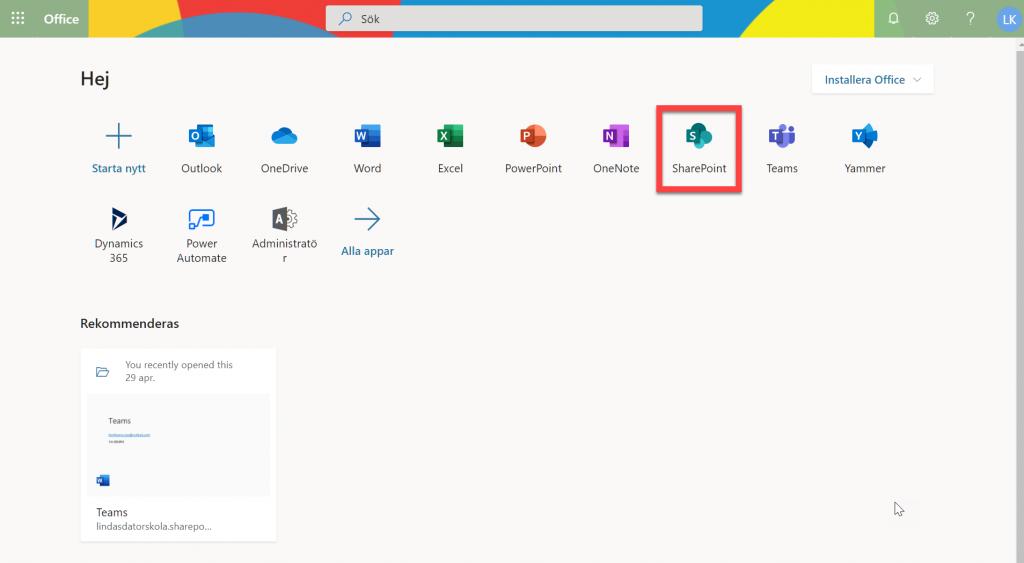 Microsoft 365 Portalen