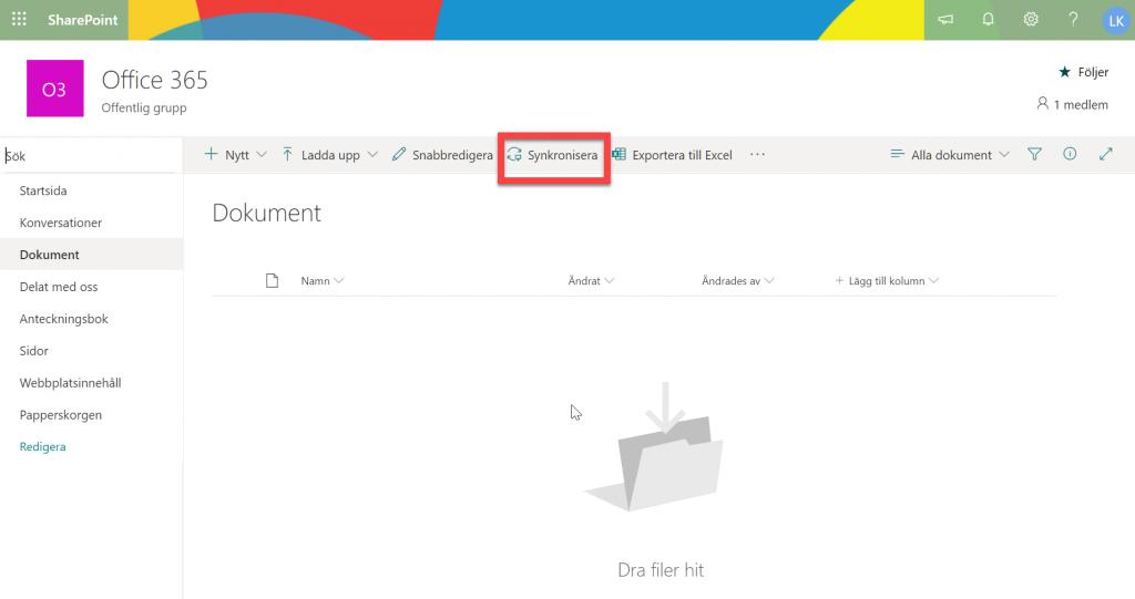 Lagring på Office 365 Gruppwebbplats