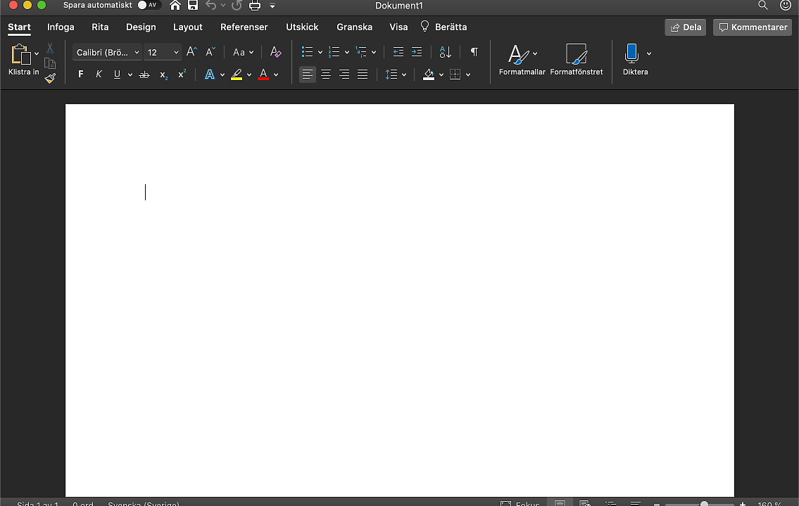 Mörkt läge i Office för Mac