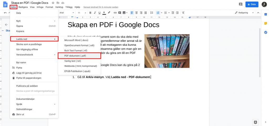 Ladda ned som PDF i Google Dokument.