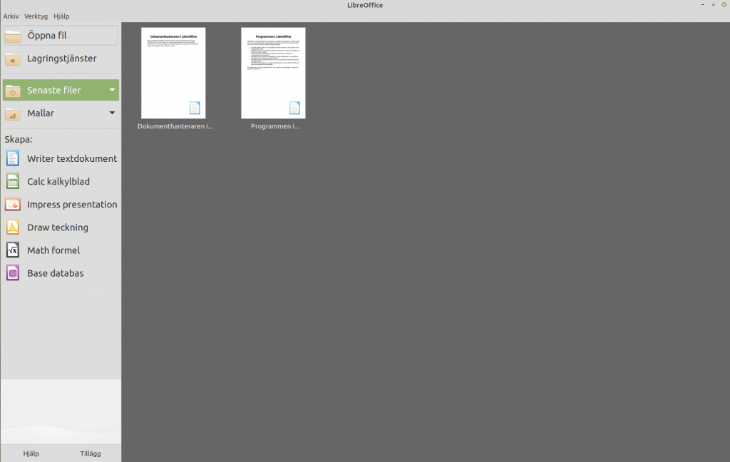 Startcenter i LibreOffice