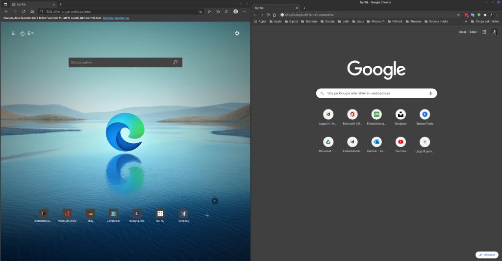 Jämförelse Edge och Chrome