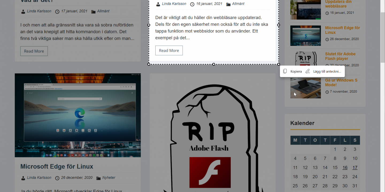 Skärmklipp i Microsoft Edge