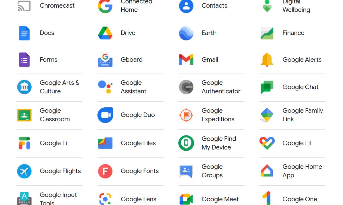 Googles tjänster och appar