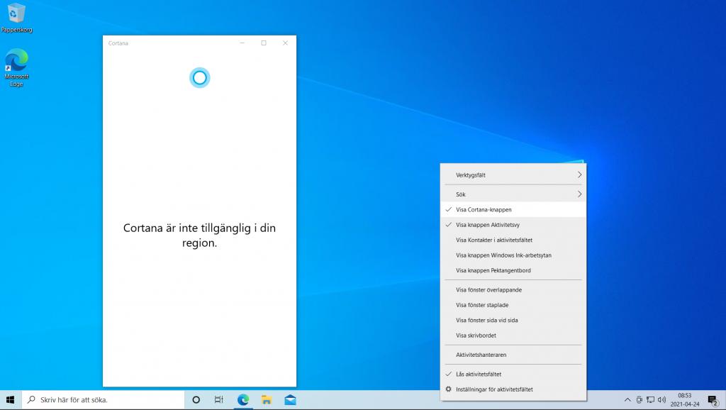 Bild på Cortana funktionen i Sverige