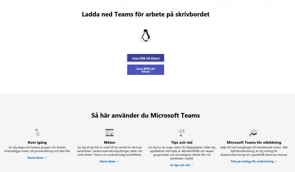 Nedladdningssidan för Teams hos Microsoft.