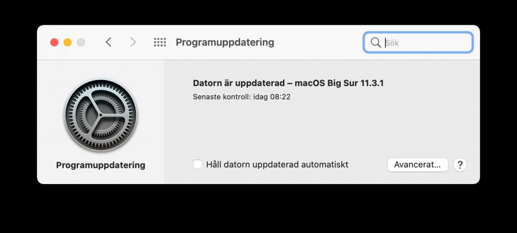 Dialogrutan för uppdatering av macOS